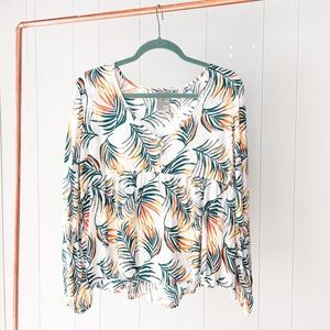 New! Babydoll Leaf Print Blouse